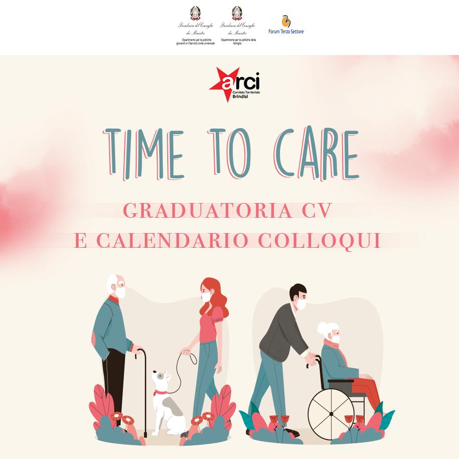"""""""Time to Care"""" – Pubblicazione graduatoria CV e calendario colloqui"""
